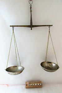 Vintage Chrome Plated Bronze Apothecary Scale Balance With Weights
