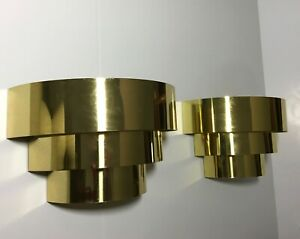 Pair Vintage Mid Century Modern Brass Tiered Deco Wall Sconces Jere Era Fab Cond