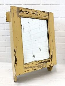 Antique Painted Wood Medicine Cabinet Chippy Cottage Mirror Wall Hanging Vintage