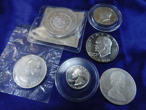Lot Of 7 Silver Coin Mix Nearly New Condition