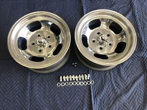 Vintage Pair 15x7 Real Us Indy Mag Polished 5on5 Chevy C 10 Truck Blazer Sub