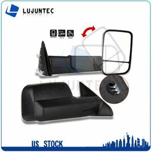 For 2009 2015 Dodge Ram Truck Pickup Black Manual Towing Side View Mirrors Pair