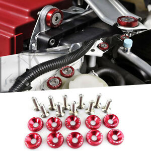 10pcs Red Password Jdm Aluminum Alloy Fender Bumper Engine Dress Up Washers Kit
