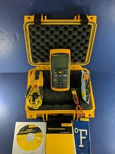 Fluke 53 Ii Thermometer Excellent Hard Case Clamp More