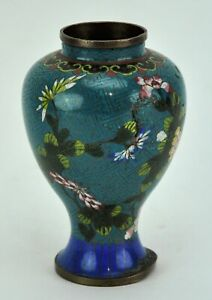 Chinese Cloisonne Vase With Floral Motif 6 Tall Bi Mk 190311