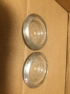Vintage Frank M Whiting Sterling Silver Rimmed Glass Coasters Pair