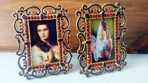 Pr 2 Vintage Small Bejeweled Metal Picture Frames Ornate