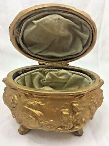 Antique Art Nouveau Gold Gilt Metal Jewelry Dresser Box Ship Sirens Griffin Swan