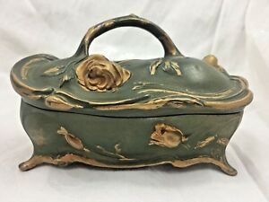 Art Nouveau Green Gold Gilt Metal Jewelry Dresser Box J B Jennings Brothers