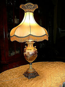 Superb Vtg Rococo Style Lamp 1759 In Fine Polychrome Porcelain Signed F Boucher
