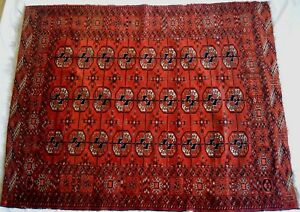 Tekke Bokhara Turkoman Wedding Carpet Rug Vintage Antique Hand Woven Oriental
