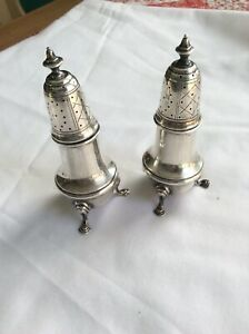 Pair 2 Redlich American Sterling Silver Footed Pepper Shakers