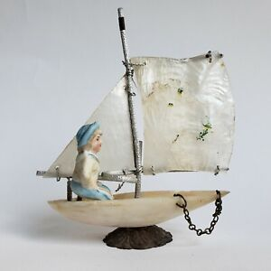 Antique Thimble Holder Shell Sail Boat Ship Mop Bisque Figurine Victorian