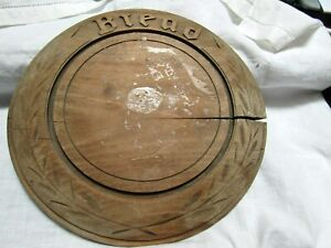 Antique Primitive Deep Carved Round Wood Bread Board 11