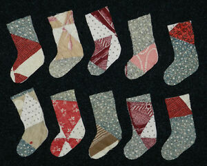 10 Primitive Antique Cutter Quilt Stockings Blue Green Scrapbooking Applique
