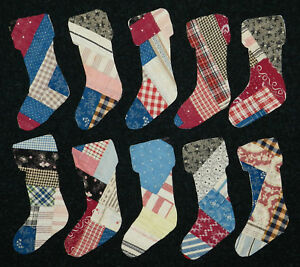10 Primitive Antique Cutter Quilt Stockings Scrapbooking Applique Log Cabin