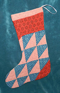 Primitive Antique Vintage Cutter Quilt Christmas Stockings Blue Red 16 1