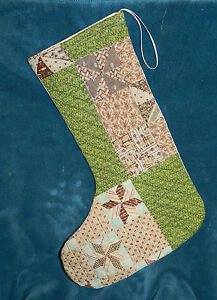 Primitive Antique Vintage Cutter Quilt Christmas Stocking Wow Gb1