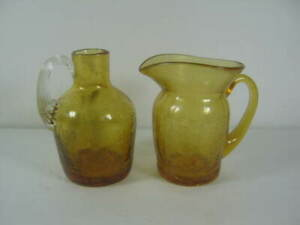 Amber Glass Miniature Pitcher With Handle And Amber Jug With Handle