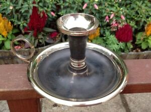Lovely 6 340g Brass Chamberstick Candle Holder Wee Willie Winkie Ref2