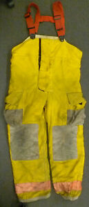40x34 Globe Yellow Firefighter Pants W Suspenders Turnout Bunker Fire Gear P032