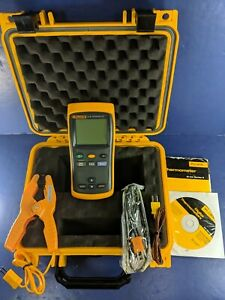 Fluke 51 Ii Thermometer Excellent Screen Protectory Hard Case Clamp