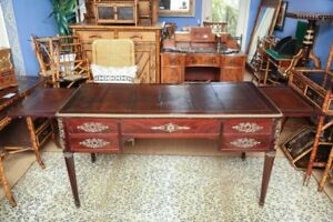 Antique French Mahogany Empire Partners Desk Or Bureau Plat 19th Century