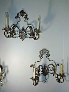 2 Vintage Italian Metalware Spanish Tudor Gothic Wall Candle Light Wall Sconces