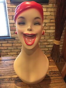 laughing Mannequin Head Red Hair Store Shop Display Prop Satire