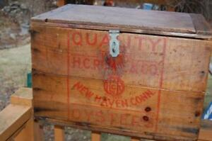 Antique H C Rowe Oysters Conn Wood Advertising Shipping Crate Can Boston Mass