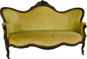 17352 Victorian Rosewood Hand Carved Large Sofa
