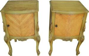 17342 Pair Of Satinwood French Victorian Carved Nightstands