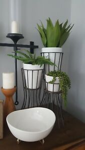 Mcm Metal Iron Plant Stands Set Of 3 Mid Century Modern Styled Retro