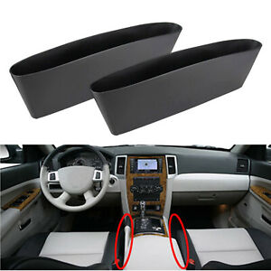 2x Black Car Seat Seam Pouch Bag Storage Organizer Holders For Accessories