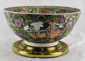 Vintage Chinese Rose Medallion Punch Bowl 6 Tall 14 Diamete Bi Cm 181024