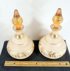 Old Pair Enameled Gold Decorated Glass Perfume Cologne Bottles Possibly Fenton