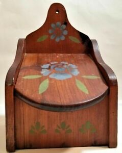 Rare Vintage Primitive Hand Painted Wood Shelf Or Wall Mount Salt Box