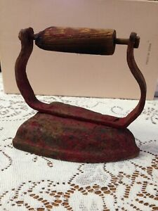 Iron Wood Handle Clothing Iron Antique Vintage Decoration