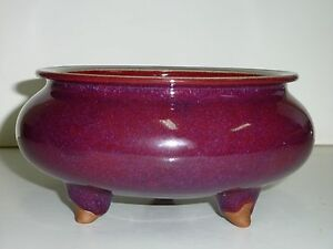 Chinese Red Jun Ware Thick Glaze Very Tiny Blue Specks 3 Leg Porcelain Bowl