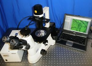 Nikon Ts 100 Inverted Fluorescence Phase Contrast Microscope