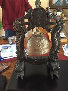 Antique Asian Brass Gong Bell On Handcarved Teak Wood Foo Dogs And Serpents