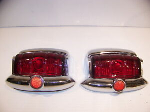 1949 Plymouth Taillight Lenses Bezels Oem Glass