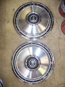 1966 67 Plymouth Valiant Hubcaps 13 Oem 66 Barracuda Pair