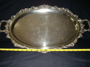 English Silver Plated On Copper 2 Handled Footed Serving Butler Tea Service Tray