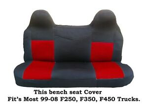 Black red Mesh Fabric Bench Seat Cover Ford F250 f350 f450 Fit s 99 2008 Truck s