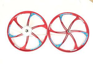 Gas Motorized Bicycle 26 Red Magnesium Alloy Wheel With 36t 6 Holes Combo Set