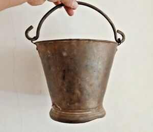 1800 S Vintage Old Brass Metal Milk Pail Bucket Pot Hand Crafted Rich Patina