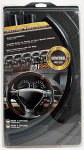 5 Piece Steering Wheel Cover Wood Grain Black Snap On For Honda Toyota Mazda