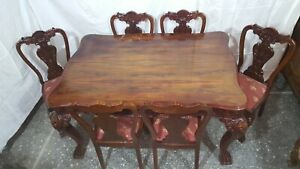 Vintage Handmade Walnut Wooden Carved Dinning Table With 6 Chairs Of 50 S