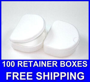100 White Denture Retainer Box Orthodontic Dental Case Mouth Ortho Brace Teeth